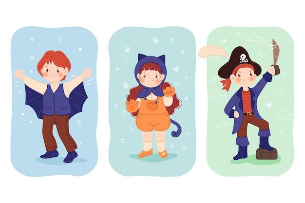 Getekende halloween-kinderen in kostuumset