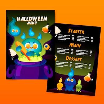 Getekende halloween menusjabloon
