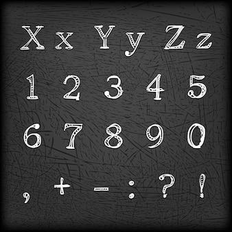 Getekende handgetekende alfabet en cijfers