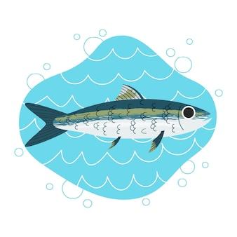 Getekende heerlijke sardineillustratie