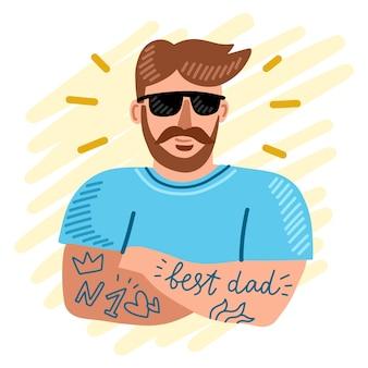 Getekende illustratie met vaderdag concept