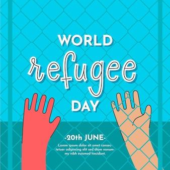 Getekende illustratie met vluchtelingendag evenement