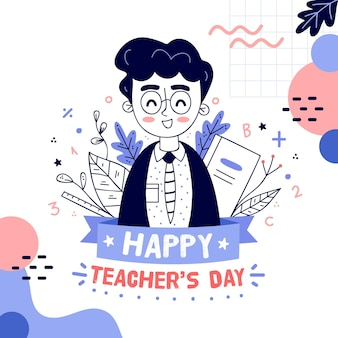 Getekende illustratie van de daggebeurtenis van de leraar