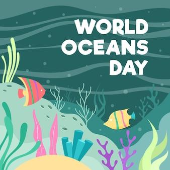 Getekende illustratie van oceanen dag evenement