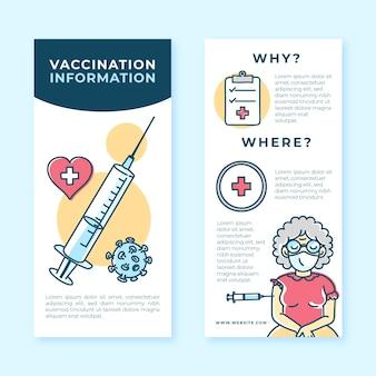 Getekende informatieve brochure over vaccinatie tegen het coronavirus Gratis Vector