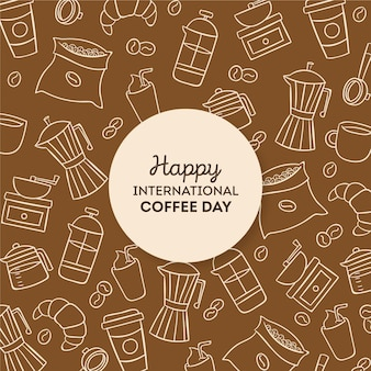 Getekende internationale dag van koffie