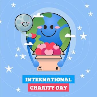Getekende internationale dag van liefdadigheid illustratie