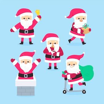 Getekende karakterverzameling van de kerstman