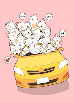 Getekende kawaii katten in gele auto.