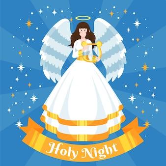 Getekende kerst engel met heilige nacht tekst