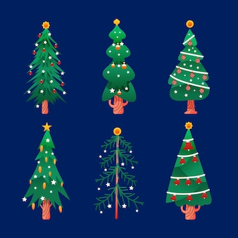 Getekende kerstbomen pack