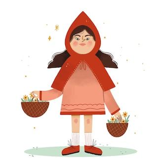 Getekende kleine roodkapje verhaal illustratie