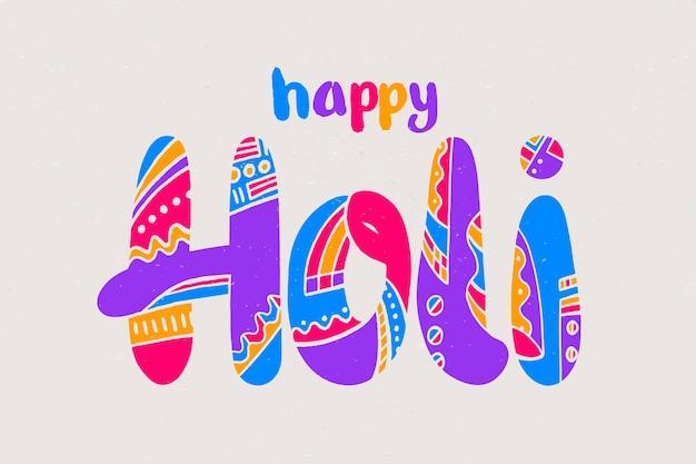 Getekende kleurrijke holi festival belettering