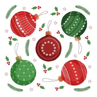 Getekende kleurrijke kerstbal ornamenten