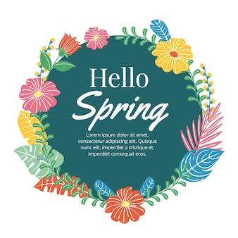 Getekende lente bloemen frame