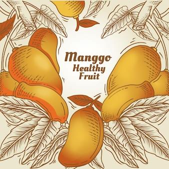 Getekende mangovruchten met bladeren