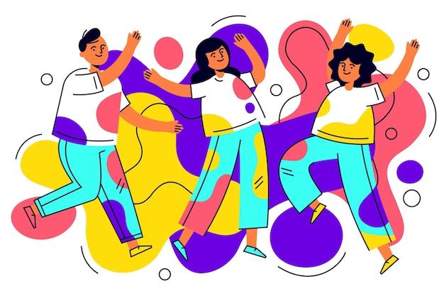 Getekende mensen die holi-festival vieren