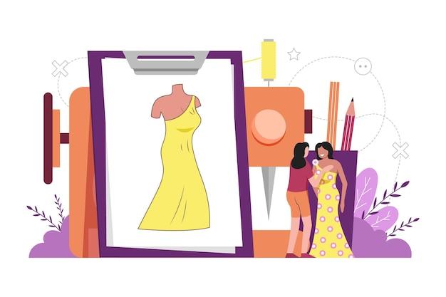 Getekende modeontwerper concept