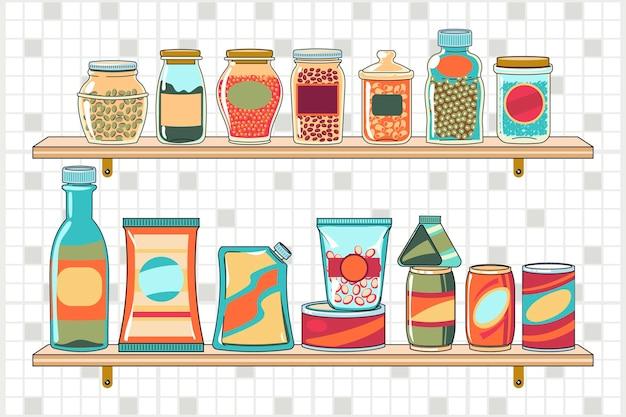Getekende pantry met verschillende soorten voedsel