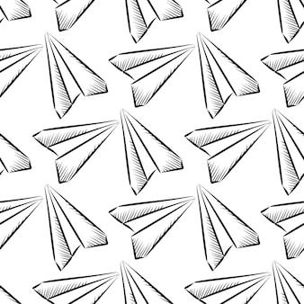 Getekende papieren vliegtuig naadloze patroon