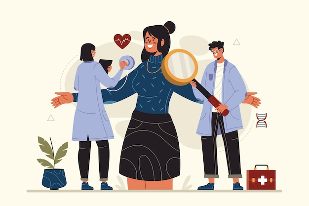 Getekende patiënt met platte hand die een medisch onderzoek aflegt