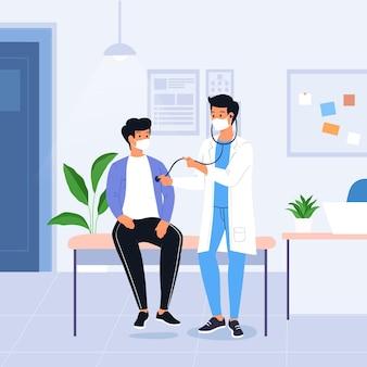 Getekende patiënt met vlakke hand die een medisch onderzoekillustratie neemt