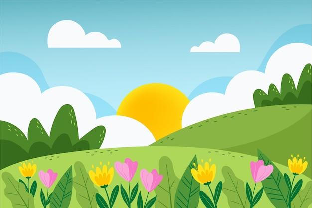 Getekende prachtige lente landschap-achtergrond