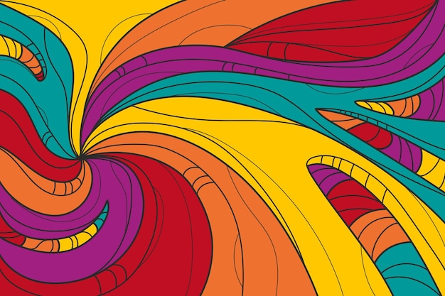 Getekende psychedelische groovy achtergrond