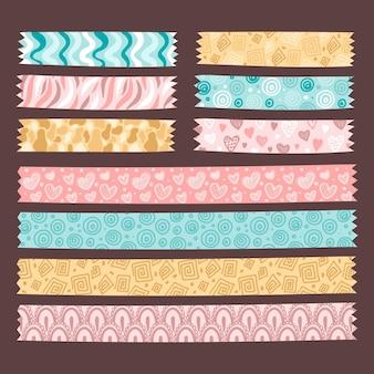 Getekende schattige washi-tapes pack