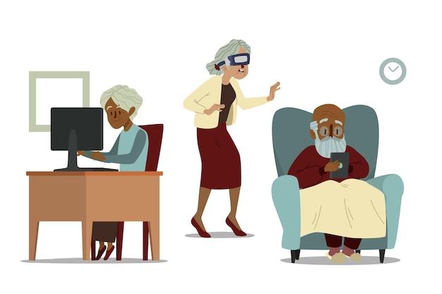 Getekende senioren met platte hand die technologie gebruiken