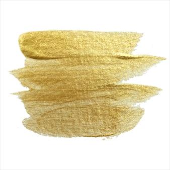 Getekende slagen van gouden verf op een witte achtergrond. eps 10