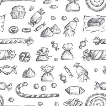 Getekende snoep naadloze patroon