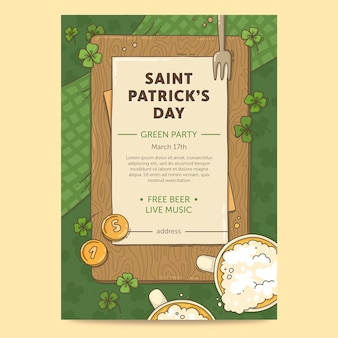 Getekende st. patrick's day flyer-sjabloon