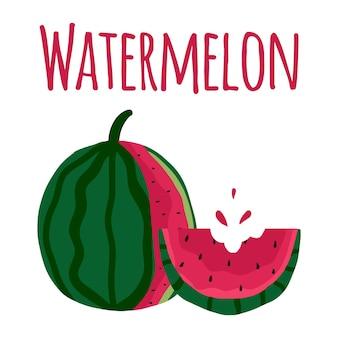 Getekende twee plakjes sappige watermeloen geheel en gebeten plakje watermeloen inscriptie: