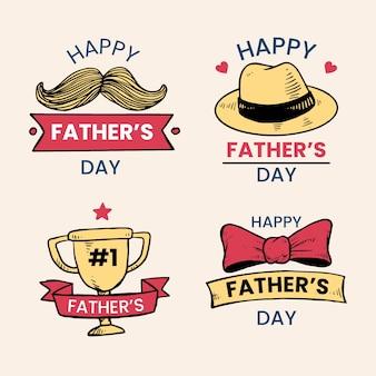 Getekende vaders dag etiketten ontwerp