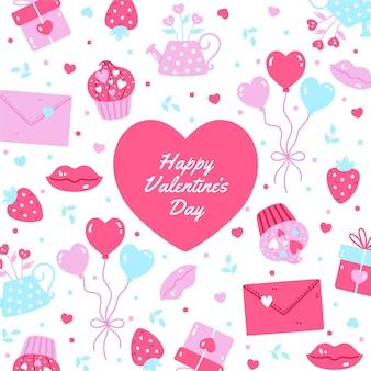 Getekende valentijnsdag achtergrond