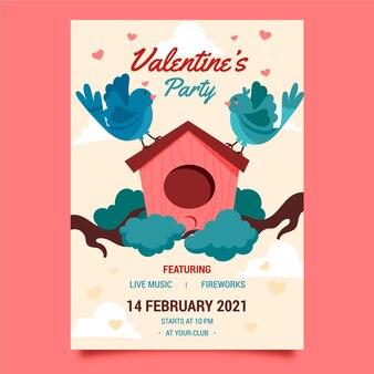 Getekende valentijnsdag partij folder sjabloon Premium Vector