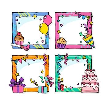 Getekende verjaardag collage frames instellen
