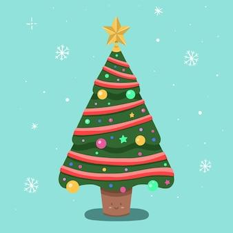 Getekende versierde kerstboom