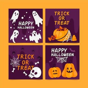 Getekende verzameling kaarten voor halloween-evenement
