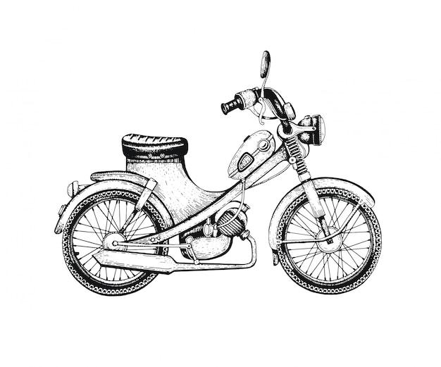 Getekende vintage scooter.