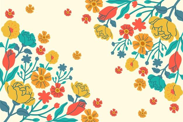 Getekende voorjaar achtergrond met bloemen