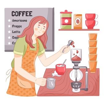Getekende vrouw die koffie maakt