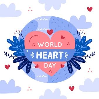 Getekende wereld hart dag illustratie