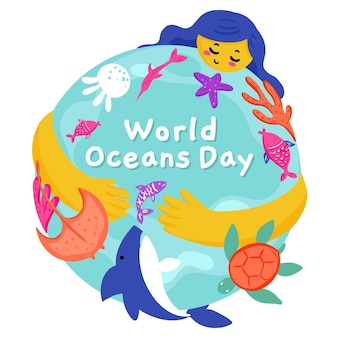 Getekende wereld oceanen dag