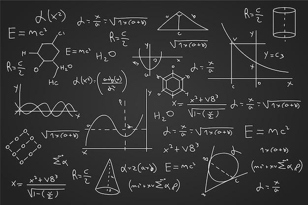 Getekende wetenschappelijke formules op blackboard