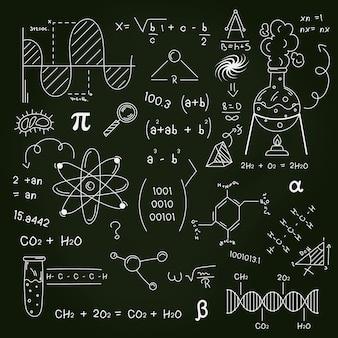 Getekende wetenschappelijke formules op schoolbord