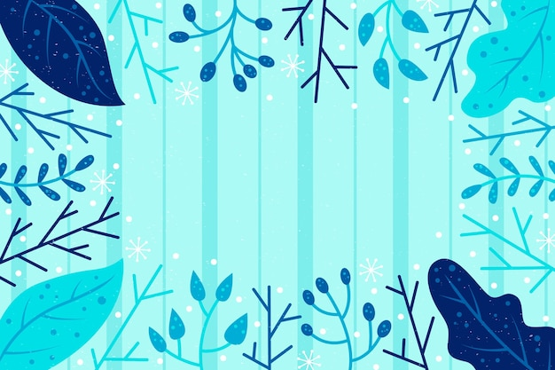 Getekende winter achtergrond met planten