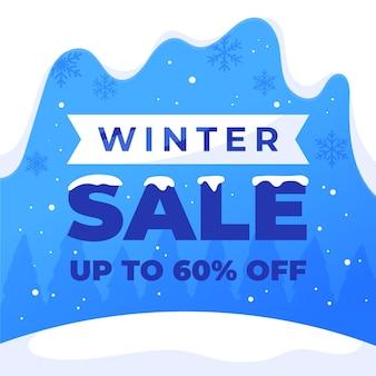 Getekende winter verkoop illustratie