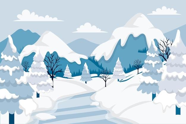 Getekende winterlandschap achtergrond